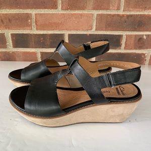 Clarks black leather platform sandals